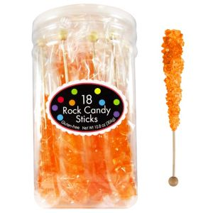 Orange Rock Candy Sticks 18pc