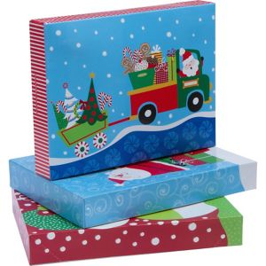 Whimsical Christmas Clothing Gift Boxes 3ct