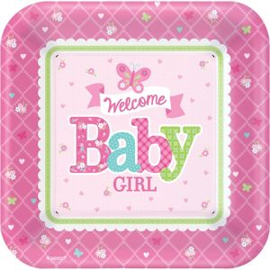 Welcome Baby Girl Baby Shower Dinner Plates 8ct