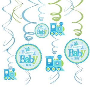 Welcome Baby Boy Baby Shower Swirl Decorations 12ct
