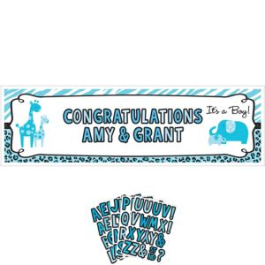 Giant Personalized Blue Safari Boy Baby Shower Banner Kit