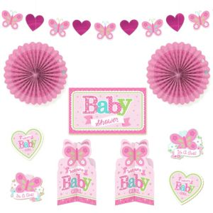 Welcome Baby Girl Baby Shower Room Decorating Kit 10pc