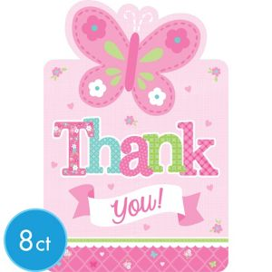 Welcome Baby Girl Baby Shower Thank You Notes 8ct