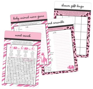 Pink Safari Baby Shower Game Kit