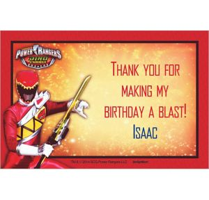 Custom Power Rangers Dino Charge Thank You Notes