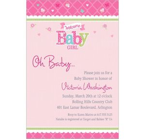 Custom Welcome Little One Girl Invitations