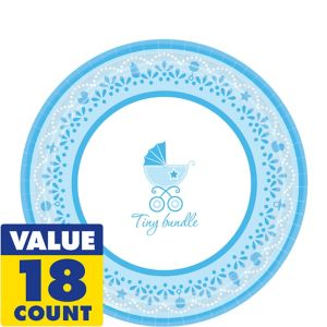 Blue Stroller Baby Shower Dessert Plates 18ct