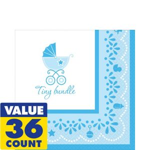 Blue Stroller Baby Shower Lunch Napkins 36ct