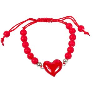 Red Sliding Knot Heart Bracelet