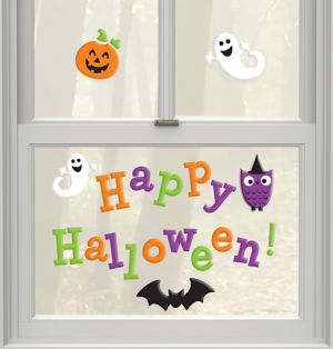 Friendly Happy Halloween Gel Cling Decals 23ct