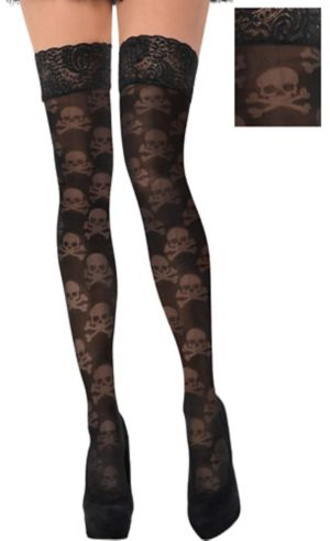 Lace Skull Thigh High Stockings
