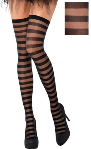 Black Stripe Thigh High Stockings