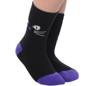 Child Black Cat Crew Socks