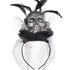 Skull Veil Headband Couture - Black & Bone