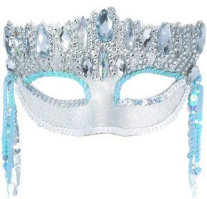 Silver & Blue Crystal Masquerade Mask
