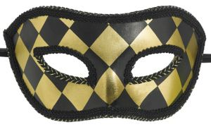 Black & Gold Harlequin Masquerade Mask