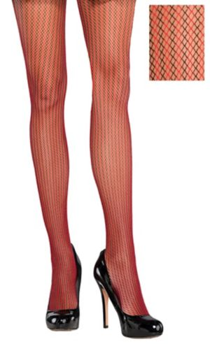 Black & Red Striped Fishnet Stockings