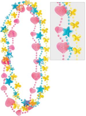 Child Pink, Blue & Yellow Flower, Heart & Star Necklaces 3ct