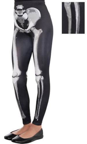 Child Skeleton Leggings - Black & Bone