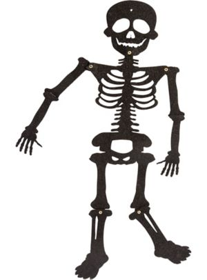 Jointed Felt Black Glitter Skeleton