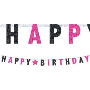 Prismatic Black & Pink Happy Birthday Letter Banner