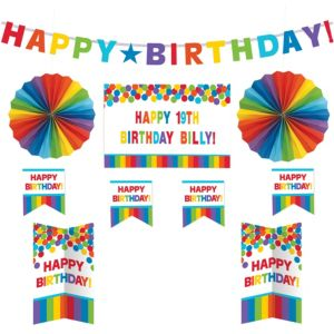 Customizable Rainbow Birthday Room Decorating Kit