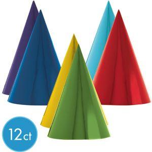 Metallic Rainbow Party Hats 12ct