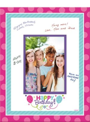 Purple & Teal Pastel Birthday Autograph Photo Mat