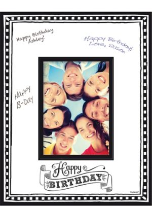 Black & White Birthday Autograph Photo Mat