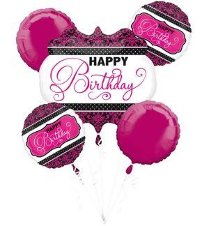 Black & Pink Birthday Balloon Bouquet 5pc