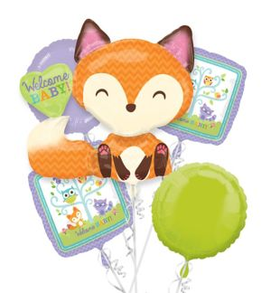 Welcome Baby Balloon Bouquet 5pc - Woodland Fox