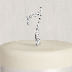 Rhinestone Silver Number 7 Cake Topper