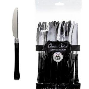 Classic Silver & Black Premium Plastic Knives 20ct