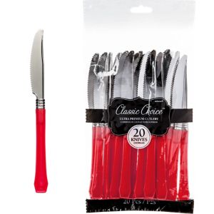 Classic Silver & Red Premium Plastic Knives 20ct