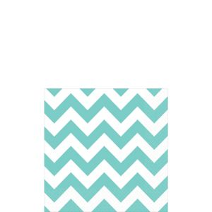 Robin's Egg Blue Chevron Beverage Napkins 16ct