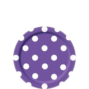 Purple Polka Dot Dessert Plates 8ct