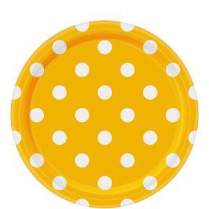 Sunshine Yellow Polka Dot Lunch Plates 8ct