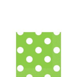 Kiwi Green Polka Dot Beverage Napkins 16ct
