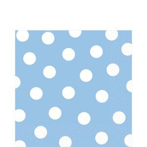 Pastel Blue Polka Dot Lunch Napkins 16ct