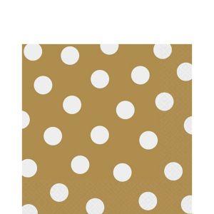 Gold Polka Dot Lunch Napkins 16ct
