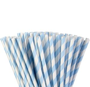 Pastel Blue Striped Paper Straws 80ct