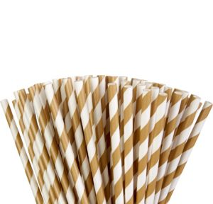 Gold Striped Paper Straws 80ct