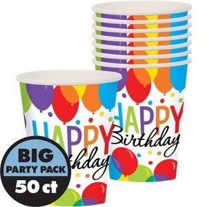 Rainbow Balloon Bash Birthday Cups 50ct