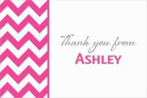 Custom Bright Pink Chevron Thank You Notes