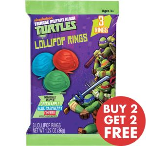 Teenage Mutant Ninja Turtles Lollipop Candy Rings 3ct