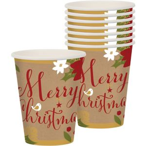 Merry Little Christmas Kraft Cups 18ct