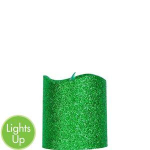 Glitter Green Pillar Flameless LED Candle