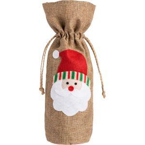 Santa Burlap Wine Bag