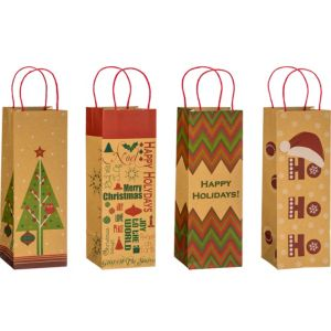 Holiday Tidings Kraft Bottle Bags 4ct