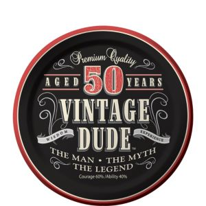 Vintage Dude 50th Birthday Dessert Plates 8ct